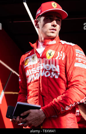Barcelona, Spain. May 14th, 2019 - Charles Leclerc from Monaco 16 of Scuderia Ferrari walking out of garage at F1 2019 Test at Circuit de Catalunya. - Stock Photo