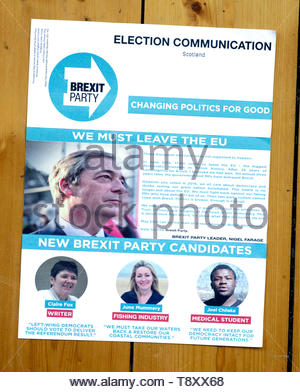 The Brexit Party European elections 2019 campaign leaflet - Stock Photo
