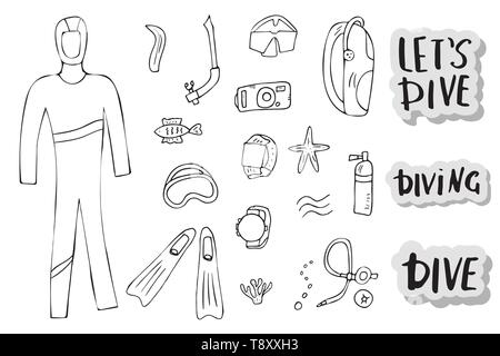Scuba diving set of elements, lettering and equipment in doodle style. Underwater activity symbols and accessories. Diver wetsuit,  mask, aqualung and - Stock Photo