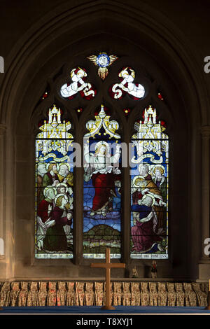 Victorian stained glass window depicting the Ascension by Burlison and Grylls 1889, Urchfont church, Wiltshire, England, UK - Stock Photo