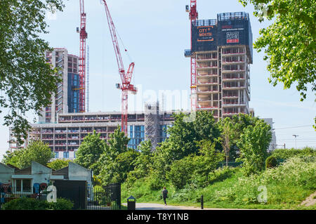 The New City North development under construction, viewed from Finsbury Park, North London UK - Stock Photo