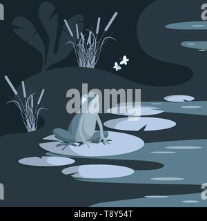 A sad frog on a water lily watches the play in the air of happy butterflies. The swamp is lit by moonlight. Vector illustration - Stock Photo
