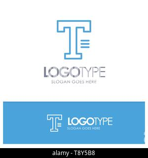 Type, Text, Write, Word Blue Outline Logo Place for Tagline - Stock Photo