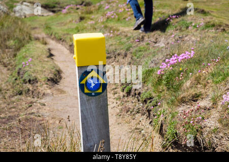 Bilingual coast footpath sign on coastal path to Borthwen from Silver Bay with a person walking. Rhoscolyn, Isle of Anglesey, Wales, UK, Britain - Stock Photo