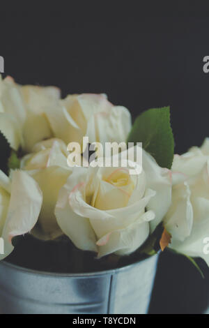 he White Rose Bouquet in metal can beautiful nature background - Stock Photo