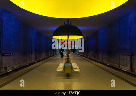 Colorful subway station Westfriedhof in Munich, Germany