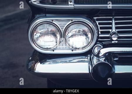 Headlight lamp vintage classic car - vintage effect style pictures.closeup engine idea lifestyle. - Stock Photo