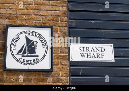 Strand Wharf, Old Leigh, Leigh on Sea, Southend, Essex, UK. Leigh Heritage Centre historic buildings. - Stock Photo