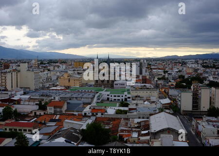 storm brewing over Salta, Argentina, view, cityscape, cathedral - Stock Photo