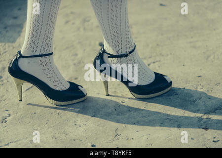 Foot concept. Foot on high heels. Foot care. Love your foot. Shoes to live in - Stock Photo