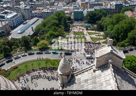 View looking down on Square Louise-Michel from top of Sacre-Coeur Basilica in Montmartre, Paris, France - Stock Photo