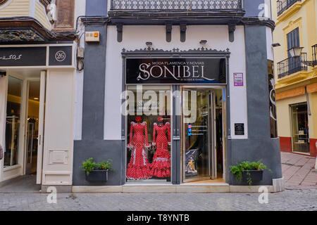 April 2019 Typical flamenco dress Shop in Seville, Andalusia, Spain - Stock Photo