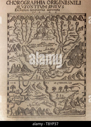 Badajoz, Spain - Jan 7th, 2019: Antique map of Source of the Nile, 1665, Picture from book Enciclopedia Autodidactica written in spanish by Dalmau Car - Stock Photo