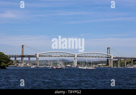 The Tamar Bridges. The Tamar Road Bridge behind Isambard Kingdom Brunel's famous railway bridge. Linking Devon and Cornwall over the River Tamar. - Stock Photo