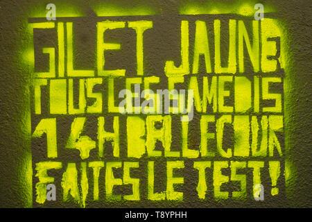 Yellow Jackets call to demo, Lyon, France - Stock Photo