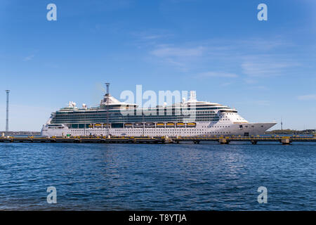 Cruise ship Serenade of the Seas of the Royal Caribbean International Fleet docked in Tallinn - Stock Photo