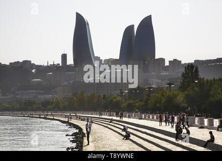Seafront and Flame towers in Baku. Azerbaijan - Stock Photo