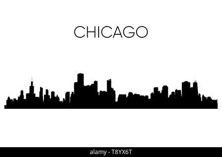 Chicago skyline silhouette. Vector illustration. Black and white - Stock Photo