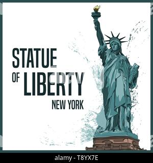 Statue of Liberty, New York, United States of America. Vector illustration, hand drawn, detailed. Colorful artwork, perfect for souvenirs or posters. - Stock Photo