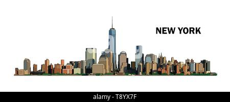 New York skyline, vector colorful illustration. High detailed creative drawing. Watercolor flat style. - Stock Photo