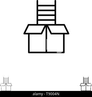 Box, Gift, Success, Climb Bold and thin black line icon set - Stock Photo