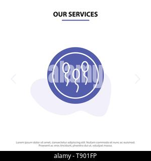 Our Services Biochemistry, Biology, Chemistry, Laboratory, Process Solid Glyph Icon Web card Template - Stock Photo