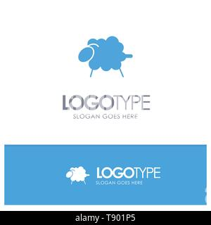 Lamb, Sheep, Wool, Easter Blue Solid Logo with place for tagline - Stock Photo