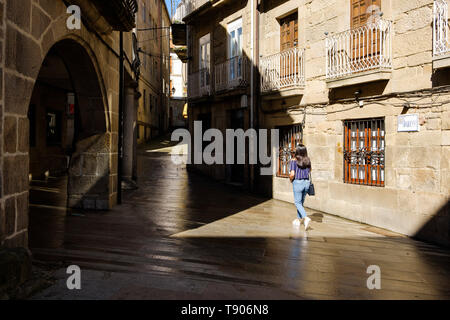 Pontevedra , Spain - May 12, 2019: Calm morning in the historical and wonderful streets of the Spanish city, Pontevedra, Spain. - Stock Photo