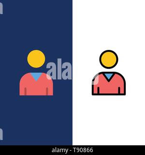 Avatar, Interface, User  Icons. Flat and Line Filled Icon Set Vector Blue Background - Stock Photo