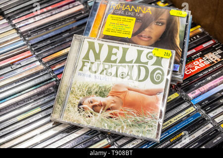 Nadarzyn, Poland, May 11, 2019: Nelly Furtado CD album Whoa, Nelly! 2000 on display for sale, famous Canadian singer and songwriter, collection of CDs - Stock Photo