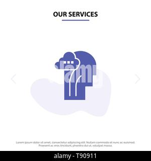Our Services Activity, Brain, Mind, Head Solid Glyph Icon Web card Template - Stock Photo