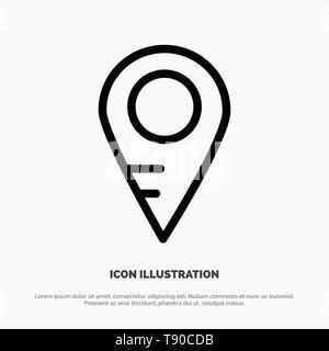 Map, Location, School Line Icon Vector - Stock Photo