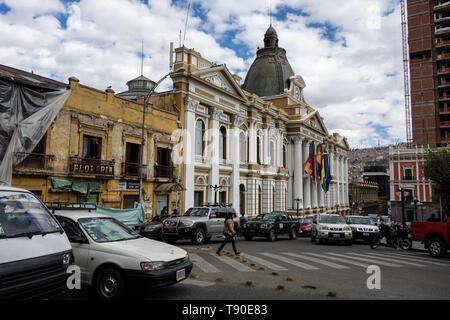 La Paz, Bolivia - June 05th, 2017: Bolivian Palace of Government (Palacio Quemado), official residence of the President of Bolivia - Stock Photo