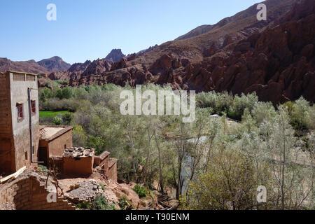 View on the small mountain village Tamellalt in Dades Gorges, Atlas Mountains, Morocco - Stock Photo
