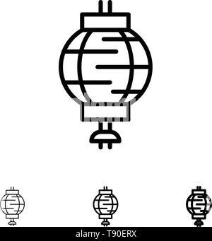 Lantern, China, Chinese, Decoration Bold and thin black line icon set - Stock Photo
