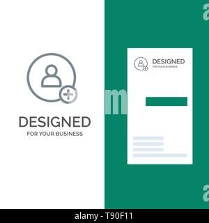 Add, Contact, Twitter Grey Logo Design and Business Card Template - Stock Photo