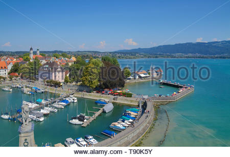 Aerial view of Lindau on Lake Constance - Stock Photo