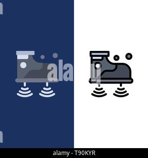 Shoes, Wifi, Service, Technology  Icons. Flat and Line Filled Icon Set Vector Blue Background - Stock Photo