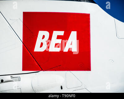 BEA Logo on a historic Trident Two airliner at Duxford Air Museum, part of the historic airliner collection. British European Airways (1946 to 1974) - Stock Photo