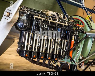200 HP De Havilland Gipsy Queen 3 Engine mounted on a de Havilland DH.89A Dragon Rapide 1930s short-haul biplane airliner. - Stock Photo