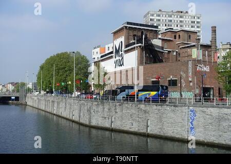 Brüssel, Bruxelles, Molenbeek, Canal de Charleroi, Millennium Iconoclast Museum of Art - Brussels Molenbeek, Charleroi Canal, Millennium Iconoclast Mu - Stock Photo