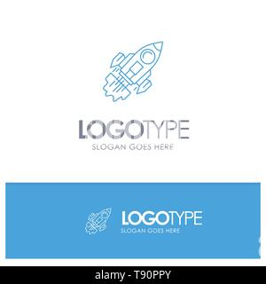 Startup, Business, Goal, Launch, Mission, Spaceship Blue outLine Logo with place for tagline - Stock Photo