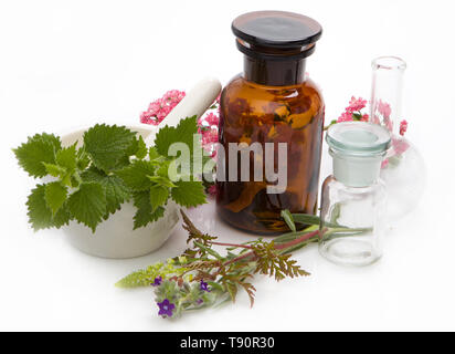 Herbal medicines - aromatherapy. Bach therapy. Herbal medicine, homeopathic remedies. - Stock Photo