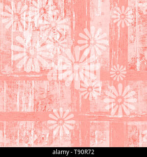 Worn wood texture in Pantone color of the year, living coral and white peeling paint in a geometric plaid pattern with faded white daisy flowers.