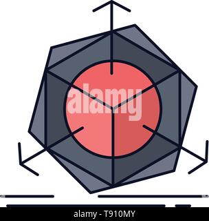 3d, change, correction, modification, object Flat Color Icon Vector - Stock Photo