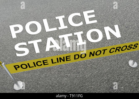 3D illustration of POLICE STATION title on the ground in a police arena - Stock Photo