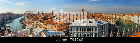 Panorama view of Grand canal from roof of Fondaco dei Tedeschi in Venice. Italy - Stock Photo