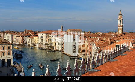 Top view of Grand canal from roof of Fondaco dei Tedeschi in Venice. Italy - Stock Photo