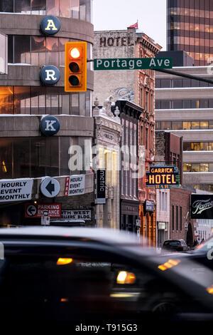 Portage Avenue, downtown Winnipeg, Manitoba, Canada - Stock Photo