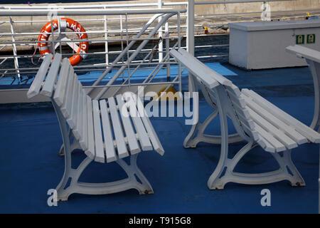 Kea Island Greece Ferry Benches on Upper Deck - Stock Photo